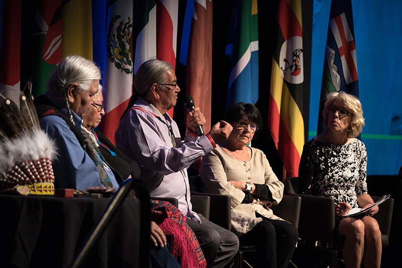 Indigenous engagement panelists Dr. Reg Crow Shoe, Elders Rose Crow Shoe, Patrick Daigneault, Doreen Healy, & Jennifer Wells, VP, Alberta engagement with the AER.