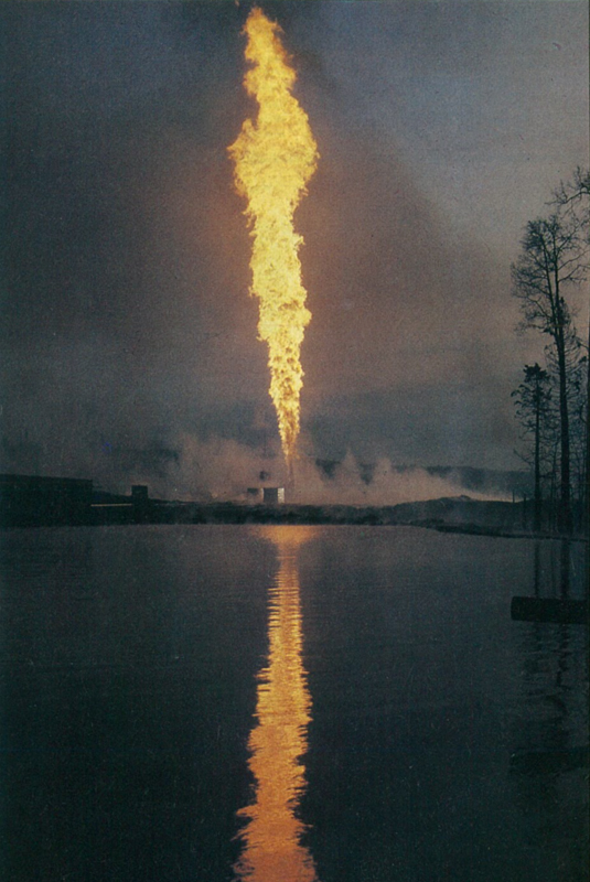 Flames from the Lodgepole sour gas well blaze high above the ground